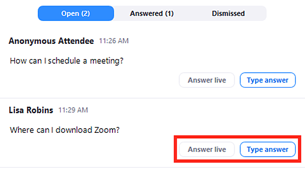 How To Use A Zoom Webinar - Step 4 - Select Q&A Settings