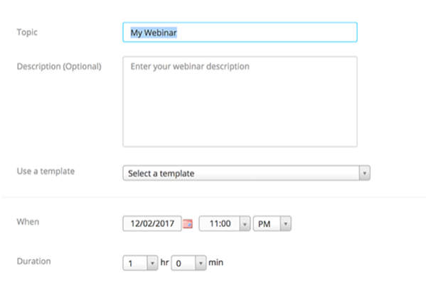How To Use Zoom Webinar - Step 2 - Enter the Zoom Webinar Name and Description