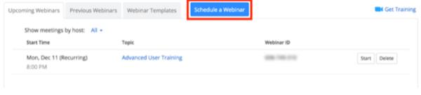 How To Use Zoom Webinar - Step 2 - Schedule a Webinar