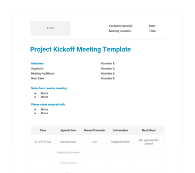 project kickoff meeting template